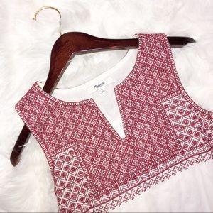 Madewell Cream & Red Canvas Dress